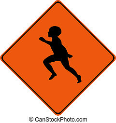 Warning sign with kid playing