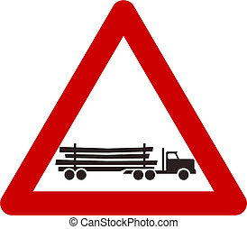Warning sign with Logging truck