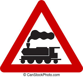Warning sign with train symbol