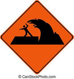Warning sign with tsunami