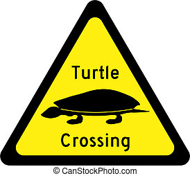 Warning sign with turtles on road