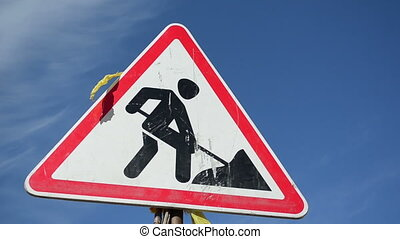 warning sign work - warning sign going work on a...