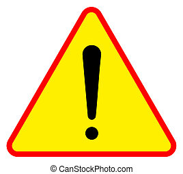 Yellow triangular warning sign, isolated on white background.