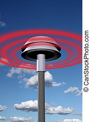 Warning signal from siren - Siren spreading general warning...