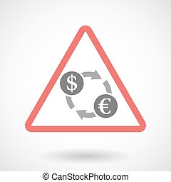Warning signal icon with a dollar euro exchange sign
