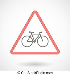 Warning signal with a bicycle