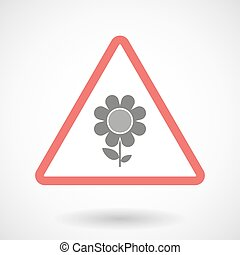 Warning signal with a flower