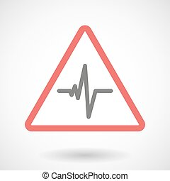 Warning signal with a heart beat sign