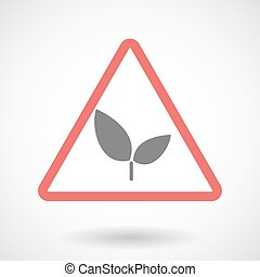 Warning signal with a plant