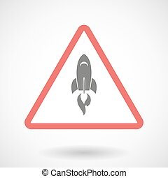 Warning signal with a rocket
