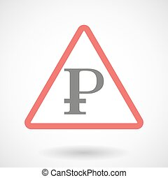 Warning signal with a ruble sign