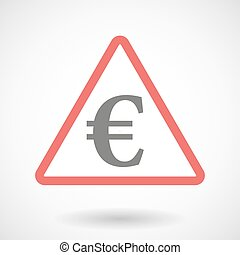 Warning signal with an euro sign