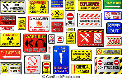 Danger and warning sign vectors