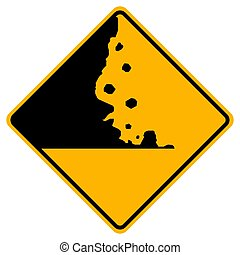 Warning signs Falling rocks on white background