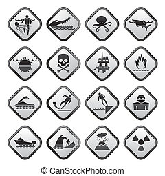 Warning Signs for dangers in sea