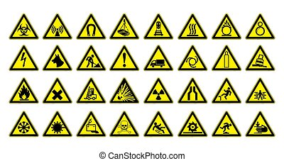Warning signs large set. Safety in workplace. Yellow triangle with black image. Vector illustration.