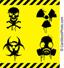 Set of 4 warning signs with grunge elements.
