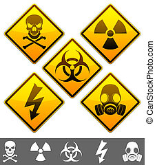 Warning signs. - Set of 5 warning signs.