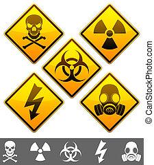 Set of 5 warning signs.
