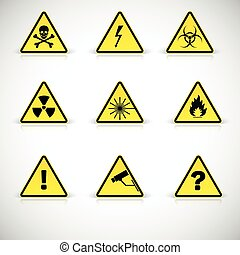 Warning signs vector. - Attention flammable signs. Warning ...