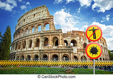 Warning signs with Coronavirus molecule and crossed out man on a background of Colosseum in Rome, Italy.
