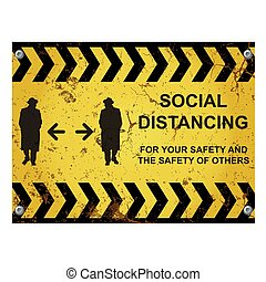 Warning social distancing sign