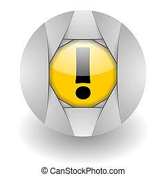 warning steel glosssy icon