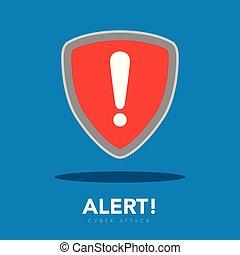 Warning symbol. Cyber attack. Vector illustration design