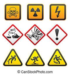 Warning symbols - Hazard Signs-First set.