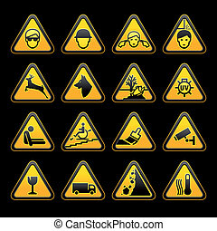 Warning symbols Safety signs set.