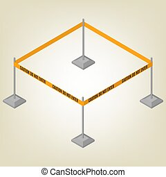 Warning tape for fencing isometric, vector illustration. -...