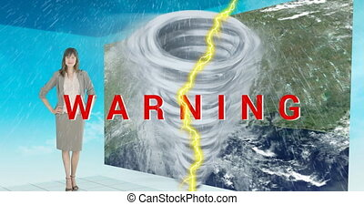 Animation of text Warning written in red over weather woman, lightning, tornado in the background. Climate change environment concept digitally generated image.