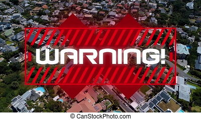 Warning text and cross sign against cityscape - Animation of...