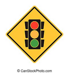 Warning traffic sign intersection, traffic light ahead sign vector icon for graphic design, logo, web site, social media, mobile app, ui illustration