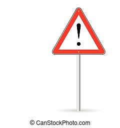 warning traffic sign vector on white background