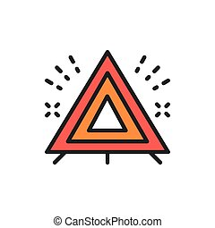 Warning triangle, automobile emergency stop sign flat color line icon.