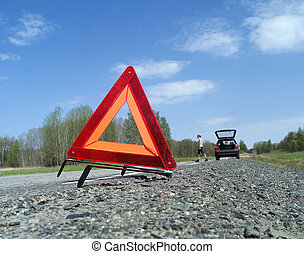 Warning Triangle - Warning traingle at the side of the road