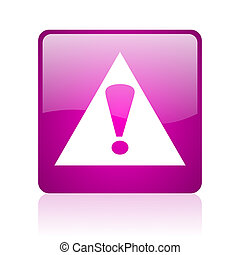 warning violet square web glossy icon