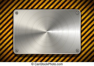Warning yellow and black stripes with polished metal blank plate, industrial background