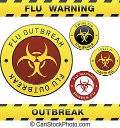 warnung, grippe, schwein, zeichen