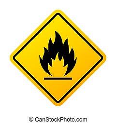warnung, materialien, feuergefährliches vorzeichen