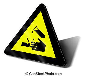 warnung, säure, zeichen, gefahr