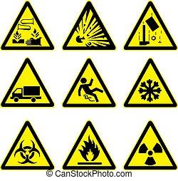 warnung, satz, 4, zeichen & schilder