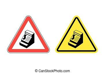 warnzeichen, bargeld, register., gefahr, gelbes zeichen, kassierer, in, store., maschine, für, konto, geld, auf, rotes , triangle., satz, von, straße unterzeichnet