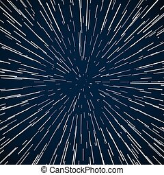 Warp stars zoom blue galaxy war vector abstract background