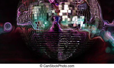 warped abstract funky discoball spinning and reflecting...