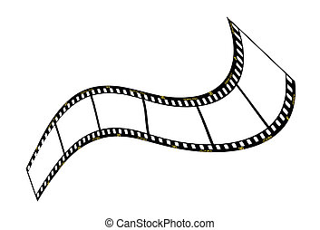 warped film strip with wavy style, with film frame number and details