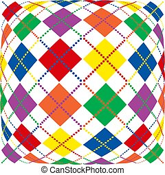 Illustration of bright rainbow colored argyle pattern with warped perspective