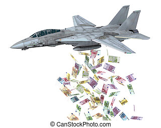 warplane, billetes de banco, bombas, instead, lanzamiento,...