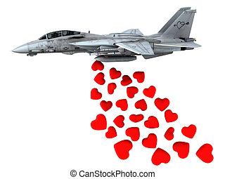 warplane launching hearts instead of bombs